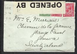 GRANDE BRETAGNE 1916: LSC  Pour Genève Avec Les Y&T 139,140, Censure Britannique - Covers & Documents