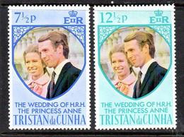 Tristan Da Cunha 1973 Royal Wedding Set Of 2, MNH, SG 186/7 - Tristan Da Cunha