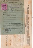 """Lot De Deux Documents 1893  Dont  Un  Avec Vignette 3f  """"ETRANGER  S.C. """" (PPP32577) - Autres"""