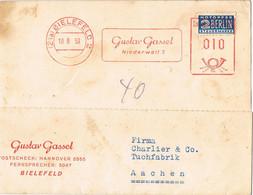 42102. Tarjeta Comercial BIELEFELD (Alemania Federal) 1950. Stamp NOTOPFER Berlin. Franqueo Mecanico - Briefe U. Dokumente