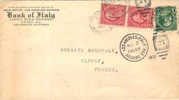BANK OF ITALY LOS ANGELES 1927 ENVOYEE A ELBEUF FRANCE  ENVELOPPE VIDE - Covers & Documents