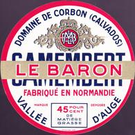 ÉTIQUETTE DE FROMAGE  - CAMEMBERT -  LE BARON    - FABRIQUÉ EN NORMANDIE - Cheese