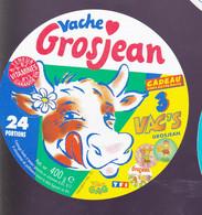 ÉTIQUETTE DE FROMAGE  - FROMAGE VACHE GROSJEAN 24 PORTIONS - Cheese