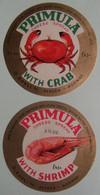 Etiquettes Fromage Fondu - PRIMULA - 2 Portions Cheese Spread Crab&Shrimp O.Kavli Bergen - Norvége  A Voir ! - Cheese