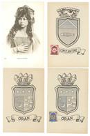 4 Cpa Algérie - Femme De Bou-Sâada, Blasons Oran (2) & Constantine   ( S.7463 ) - Otros