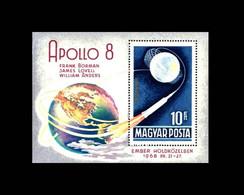 Ungarn / Hungary: 'Apollo-8 In Space – Men In The Moon Orbit, 1969', Mi. BL68A [2476A]; Yv. BF74; Sc. C284 ** - Europa