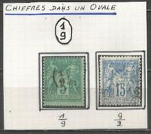 France - Type Sage - N°75+101 - Obl. Cachet De Facteur - Chiffres Dans Un Ovale - 1877-1920: Semi Modern Period