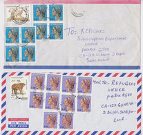 SOMALIA AIR MAIL COVER MONKEY CAFFER STAMP LOT OF 2 COVERS LETTRE SOMALIE GENEVE UNHCR REFUGEES TIMBRE SINGE BUFFLES - Somalië (1960-...)