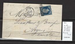 France -Lettre Yvert 14 - PIQUAGE SUSSE - Paris 1861 - - 1849-1876: Classic Period