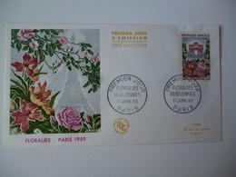 Enveloppe Ier Jour FDC 1959  Floralies Parsiennes  Oblit. Stand. Paris - 1950-1959