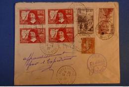 470 FRANCE BELLE LETTRE RARE 1937 M - P. BURES S YVETTE RECOMMANDé POUR LONDRES + AFFRANCHISSEMENT BLOC DE 4 TIMBRES - Covers & Documents