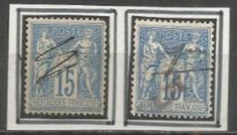 France - Type Sage - N°90+101 - Annulation à La Plume - 1877-1920: Semi Modern Period