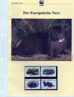 1999 Georgien/Georgia WWF Europäischer Nerz/European Mink Komplettes Kapitel 4 **, 4 FDC, 4 MK + Beschreibung - Unused Stamps