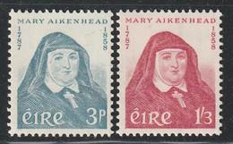 IRLANDE - N°138/9 * (1958) Mère Mary Aikenhead - Unused Stamps