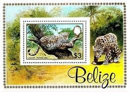 Belize 1983 WWF Jaguar Leopard Wildlife Animal Fauna Cats S/s Block - Unused Stamps