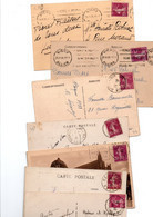 TIMBRE TYPE SEMEUSE CAMEE.... 20c LILAS.ROSE.......LOT DE 400 SUR CPA.......LOT 5 - 1906-38 Sower - Cameo