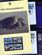 Sao Tome 2001 WWF Olive Bastardschildkröte/Olive Ridley Sea Turtle  Komplettes Kapitel 4 **, 4 FDC, 4 MK + Beschreibung - Unused Stamps