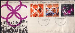 Singapore - 1970 - FDC - People's 10th Anniversary Republic Of Singapore - Marathon - Atletica
