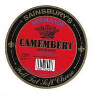 ETIQUETTE De FROMAGE.. CAMEMBERT Fabriqué En FRANCE..NORMANDY.. SAINSBURY'S.. 6 Portions - Cheese