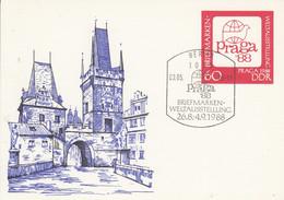 DP 99 Briefmarken- Weltausstellung, PRAGA 1988, Berlin 1085 - Postkarten - Gebraucht