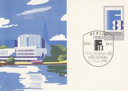 DP 100  Philatelistische Weltausstellung, Finnlandia 1988, Berlin 1085 - Postkarten - Gebraucht