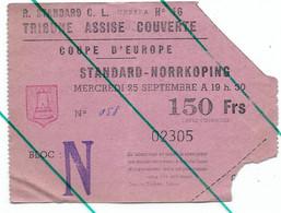 Ticket Entrée Football  Standard De Liège - Norrkoping 1963  Coupe D'Europe - Toegangskaarten