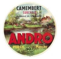 ETIQUETTE De FROMAGE .CAMEMBERT Fabriqué En NORMANDIE..ANDRO à PERCY ( Manche 50) - Cheese