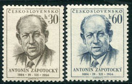 CZECHOSLOVAKIA 1954 Zapotocky 70th Birthday MNH / **.  Michel 887-88 - Unused Stamps