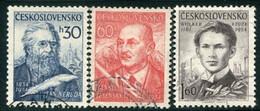 CZECHOSLOVAKIA 1954 Poets Used.  Michel 881-83 - Used Stamps