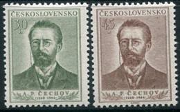 CZECHOSLOVAKIA 1954 Chekhov Anniversary MNH / **.  Michel 871-72 - Unused Stamps