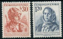 CZECHOSLOVAKIA 1954 Slovak National Rising Anniversary MNH / **.  Michel 869-70 - Unused Stamps