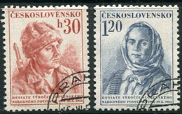 CZECHOSLOVAKIA 1954 Slovak National Rising Anniversary Used.  Michel 869-70 - Used Stamps