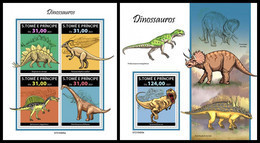 S. TOME & PRINCIPE 2021 - Dinosaurs, M/S + S/S. Official Issue [ST210405] - Preistorici