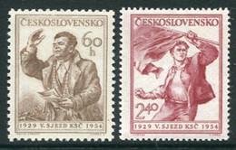 CZECHOSLOVAKIA 1954 Communist Party Congress MNH / **  Michel 846-47 - Unused Stamps