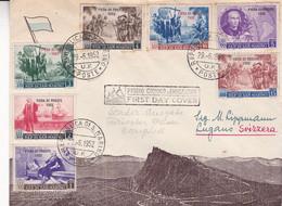 """SAN MARINO """"FIERA DI TRIESTE 1952"""" COMMEMORAZIONE COLOMBIANA. FDC ENVELOPPE CIRCULATED.- LILHU - FDC"""