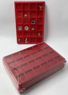 LOT 10 BOX - COLLECTEURS - PLATEAUX VELOURS AVEC COUVERCLE - 24 CASES POUR DIVERS - FEVES - MINERAUX - LEGO ETC. - Altri
