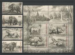 Moldova, Prahistoric Animals, 2010, 4  Stamps + S/s  Block - Preistorici