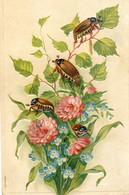 Hannetons Sur Une Fleur - Carte Gaufrée - Insects