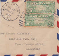 USA PART ENVELOPE. CIRCULATED 1940. VIA AIR MAIL. NEW YORK TO BANFIELD, ARGENTINA.- LILHU - Covers & Documents