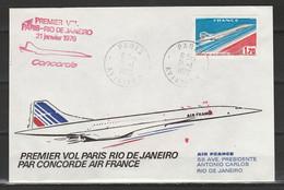 Frankrijk Premier Vol Paris Rio De Janeiro 21-6-1976 First Flight Concorde Air France - Eerste Vluchten