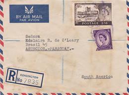 ENGLAND ENVELOPE. CIRCULATED 1962. PAR AVION, REGISTERED. KENSINGTON TO ASUNCION, PARAGUAY.- LILHU - Covers & Documents
