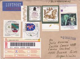 DEUTSCHLAND ENVELOPE. CIRCULATED 2000. PAR AVION, REGISTERED. LANGERFELD TO BUENOS AIRES, ARGENTINA.- LILHU - Briefe U. Dokumente