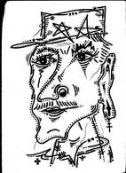 Tableau Dessin Unique Charles De Gaulle Gaullisme  Outsider Art Brut Peculiar Art Singulier Art Tribal Vue D'artiste - Disegni