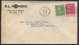 PUERTO RICO - USA N° 228 & 371 / LETTRE DE SAN JUAN LE 11/10/1939 POUR USA - SUP - Puerto Rico