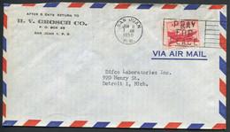 "PUERTO RICO - USA PA N° 36 / LETTRE AVEC O.M. DE SAN JUAN LE 9/1/1958 FLAMME  "" FOR PEACE "" - SUP - Puerto Rico"