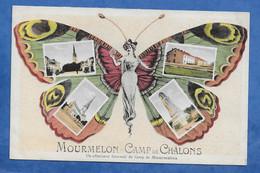 CPA Mourmelon - Camp De Chalons Un Affectueux Souvenir - Femme Art Nouveau En Papillon Humanisé Multivues - Kazerne