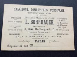 CARTE DE VISITE  L.BOHRHAUER  Salaisons  Comestibles  Porc-Frais  CHARCUTERIE FINE  Paris - Visiting Cards