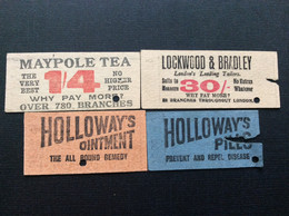 4 TICKETS TRANSPORT  *The Metropolitan Electric Tramway  *The London General Omnibus Co *L.L.C.Tramways  LONDRES - Europe