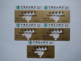 China Gift Cards, Agricultural Bank Of China, 100,200,300,500,1000 RMB,(5pcs) - Gift Cards