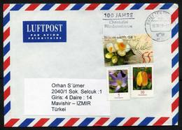 Germany (BRD) Air Mail Cover 16.10.2009, From Brandenburg To Izmir, Turkey   Flowers, Crocus, Tulip   Camellias Greeting - Briefe U. Dokumente